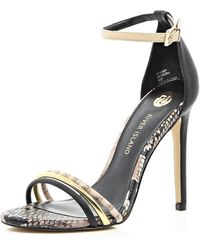 River Island Black Triple Strap Barely There Sandals - Lyst