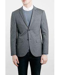 Topman Mid Grey Skinny Fit Jersey Blazer - Lyst
