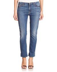 Jen7 Straight Cropped Boyfriend Jeans - Lyst