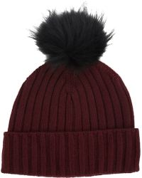 Barneys New York Faux Fur Pompom Beanie red - Lyst