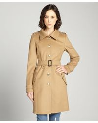 Burberry Camel Brown Wool Blend Three Quarter Coat - Lyst