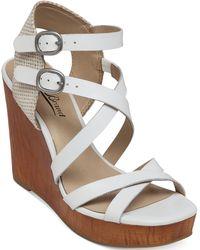 Lucky Brand Women'S Lahoya Strappy Platform Wedge Sandals - Lyst
