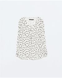 Zara Piped Long Sleeve Printed Top With Front Zip - Lyst