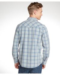 3rd & Army | Blue And Cream Cotton Long Sleeve Flannel | Lyst