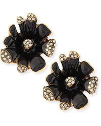 Oscar de la Renta Black Enamel Orchid Earrings - Lyst