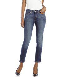 Levi's Petite Dark Wash Mid-Rise Skinny Jeans - Lyst