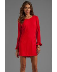 Harlyn Button Back Shift Dress in Red - Lyst