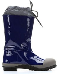 Miu Miu Navy Patent Leather and Marble Rubber Mid-calf Rain Boots - Lyst