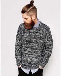 Dr. Denim - Crew Knit Sweater Jazz Melange Stripe Raglan - Lyst