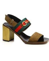 Gucci | Querelle Suede & Wood Stripe Sandals | Lyst