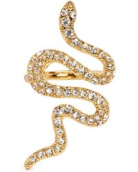 Kenneth Jay Lane - Crystal Pavé Snake Ring - Lyst