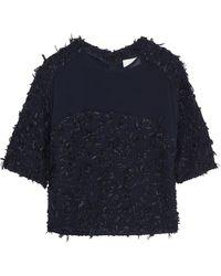 3.1 Phillip Lim Chiffon-Paneled Textured-Tweed Top - Lyst