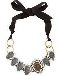Lanvin Short Ribbon Necklace with Crystal Bib - Lyst