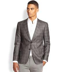 Armani Virgin Wool Blend Windowpane Sportcoat - Lyst