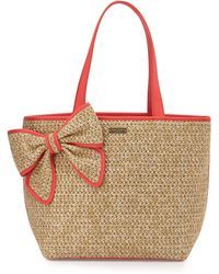Kate Spade Belle Place Straw Summer Tote Bag beige - Lyst