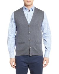Brooks Brothers - Button Front Wool Sweater Vest - Lyst