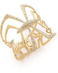 Alexis Bittar Encrusted Mirrored Hinge Bracelet Gold - Lyst