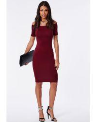 Missguided Jersey Bardot Bodycon Midi Dress Burgundy - Lyst