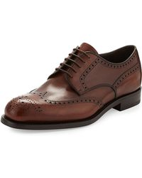 Prada Leather Wing-Tip Lace-Up - Lyst