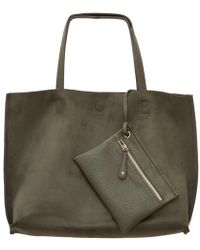 Bungalow 20 - Reversible Leather Tote In Olive Suede - Lyst