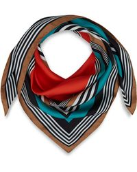 Jonathan Saunders Turquoise Striped Silk Scarf - Lyst