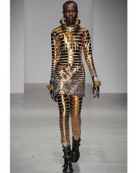 KTZ - Gold Striped Cotton Jersey Trousers - Lyst