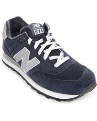 New Balance | blue 574 Navy Suede and Mesh Sneakers | Lyst