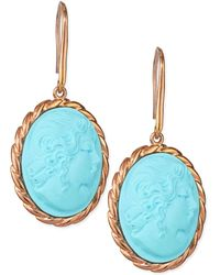 Amedeo - Lady Profile Turquoise Cameo Earrings - Lyst