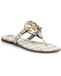 Tory Burch Miller Metallic & Leather Logo Thong Sandals - Lyst