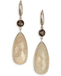 Saks Fifth Avenue Feldspar Smoky Quartz  14k Yellow Gold Drop Earrings - Lyst