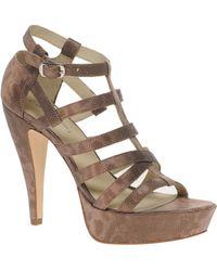 Elizabeth And James Manic Lizard Effect Platform Strappy Heeled Sandals - Lyst