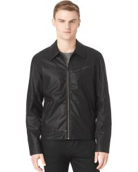 Calvin Klein Textured Faux Leather Bomber Jacket - Lyst