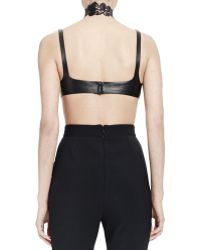 Alexander McQueen - Halter-Neck Leather Bra Top W/Lace Detail & High-Waist Skinny-Leg Pants - Lyst