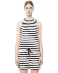 Alexander Wang Striped French Terry Romper - Blue
