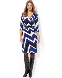 Lauren by Ralph Lauren Plus Printed Faux Wrap Dress - Lyst