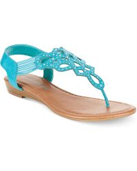 Rampage Carmaxa Flat Thong Sandals blue - Lyst