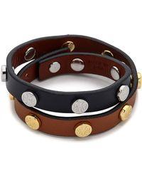 Tory Burch Double Wrap Logo Stud Bracelet  - Lyst