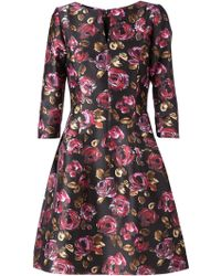 Oscar de la Renta Flower Printed Flared Dress - Lyst