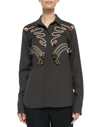 Stella McCartney Cord Embroidered Blouse - Lyst