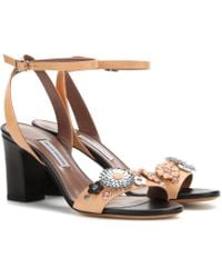 Tabitha Simmons Leticia Flower Embellished Leather Sandals - Lyst