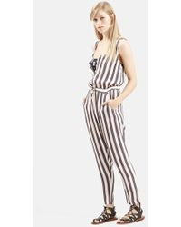 Topshop 'All In One' Button Front Stripe Jumpsuit beige - Lyst