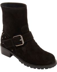 Barneys New York Buckle-Strap Suede Moto Boot - Lyst