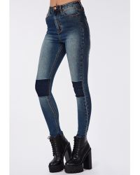 Missguided Edie High Waist Knee Patch Skinny Jeans Indigo - Lyst