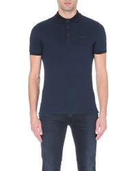 Burberry Stripedcollar Cottonpiqué Polo Shirt Navy - Lyst