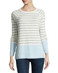 Vince Colorblock Striped Raglan Sweater - Lyst