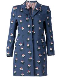Thom Browne Flower Printed Coat blue - Lyst