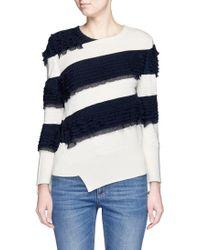 Alexander McQueen | Asymmetric Ruffle Stripe Sweater | Lyst