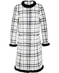 Thom Browne Cardigan Overcoat in Oxford Basket Weave Tweed