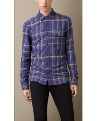 Burberry Check Cotton Flannel Shirt - Lyst