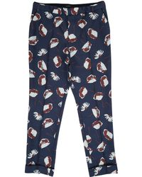 Valentino - Navy Poppy Silk Pyjama Trousers - Lyst